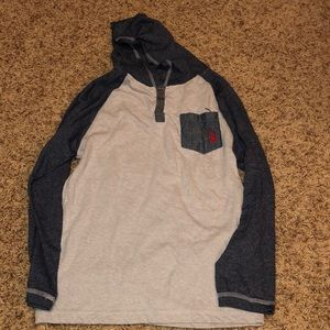 Boys long sleeve hooded shirt 10/12